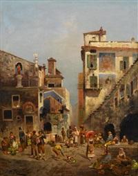 a busy street market by j. h. rogan