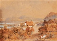 farm yard looking across kalk bay by abraham de smidt