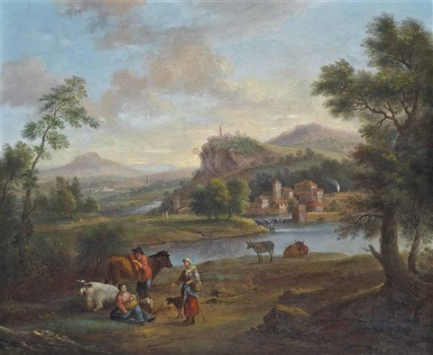 an italianate river landscape with travellers at rest by jan frans van bloemen