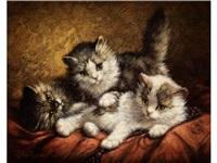 drei spielende junge kätzchen auf rotem tuch by cornelis raaphorst