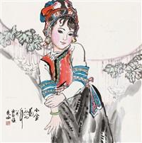 小金花 立轴 设色纸本 by liu wenxi