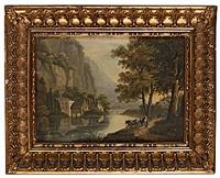 bergigt flodlandskap med byggnader, figurer och boskap by axel otto morner