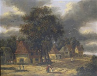 figures in a rural hamlet by george vincent