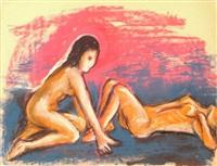 nudes on blue by bob thompson