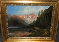 mountain landscape with foreground river by carl anton saabye