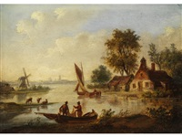 niederländische flusslandschaft by jan arends