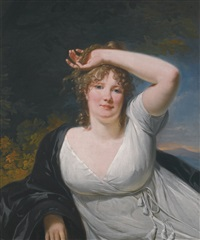 portrait of a young lady in a white dress by henri-pierre danloux