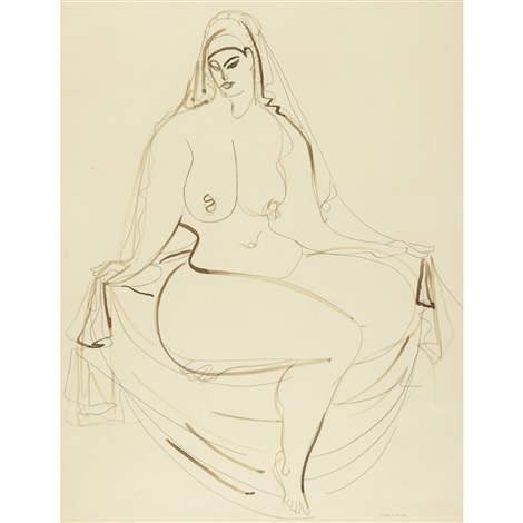seated woman with drapery by gaston lachaise