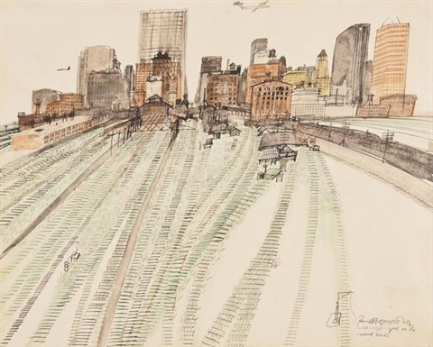 chicago grass on the railroad tracks by paul hogarth