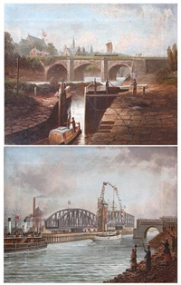 the old aquaduct - barton (+ barton, the ship canal, with horseman and snowdrop passing; pair) by albert dunington