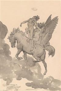 mythologische szene mit pegasus by rudolf jettmar