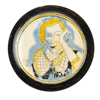 plate with portrait of a woman by henry varnum poor