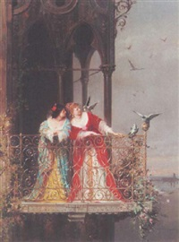 two ladies on a balcony by arnoldo corrodi