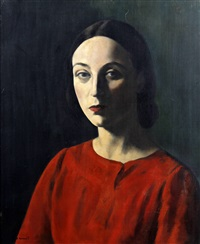 portrait of nellie pickering wearing a red dress by jacob kramer