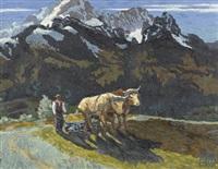 berglandschaft mit pflügendem bauer by hans figura