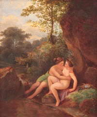 diana and callisto (jupiter disguised in diana, seducing callisto, at the edge of a creek, having cupidon in the distant plan) by karoly marko the younger