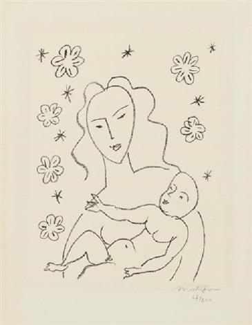 vierge et enfant sur fond de fleurs et détoiles by henri matisse