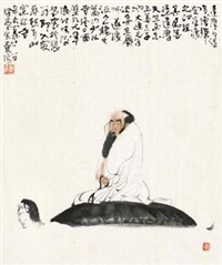 达摩渡江 (old man) by dai wei