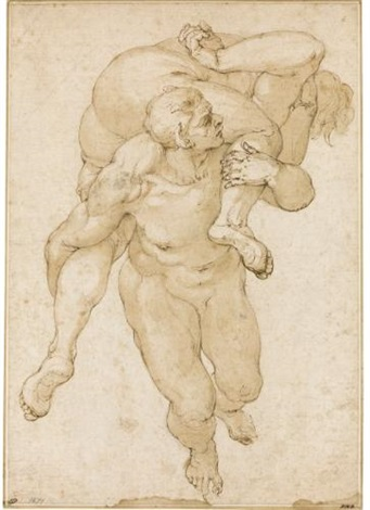 a devil carrying a lost soul after figures in michelangelos last judgement by giulio benso