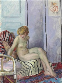nu assis, marinette by henri lebasque