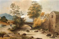 river landscape with mill and bridge by sydney scott
