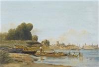 uferpartie mit ruderbooten by henri arthur bonnefoy