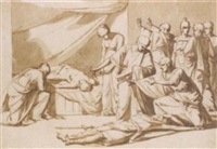 roman senators and women discovering two corpses, soldiers arresting the murderers to the right by vincenzo camuccini