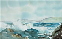 waves breaking on rocks near sneem, county kerry (+ woodland scene; pair) by margueritte anne muller