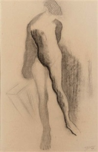 a standing nude by johann hendrikus moesman