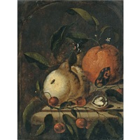 a still life with a lemon, an orange and a walnut on a ledge by martinus nellius