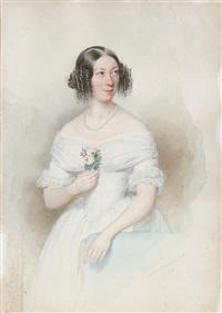 bildnis einer dame in weißem kleid, eine rose haltend by johann höhenrieder