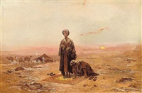 bedouins praying in the desert by tadeusz ajdukiewicz