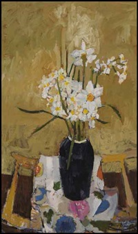 japanese cloth and pot of flowers by molly joan lamb bobak