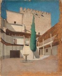 alhambra, cortile con cipresso by filadelfo simi