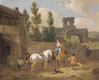 an italianate landscape with elegant figures outside a blackmith's forge by dirk maes