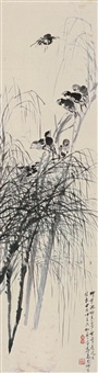 willow tree and birds by ma wanli and liuyang jushi