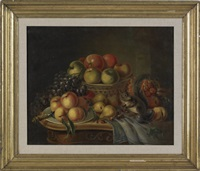 still life with fruit and squirrel by william m. laning