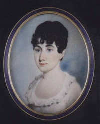 a young lady with dark hair, wearing décolleté white dress with neck frill by w.p.j. lodder