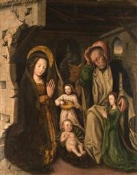 christi geburt im stall von betlehem mit stifterfigur by flemish school (15)