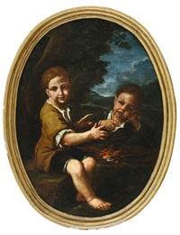 due bambini davanti al fuoco by antonio mercurio amorosi
