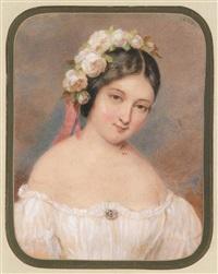 bildnis eines fräuleins mit weißen rosen im haar by emanuel thomas peter