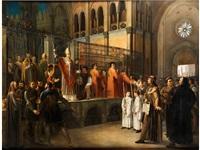 der heilige bischof ambrosius im religionskampf gegen die arianer (?) by italian school-northern (19)