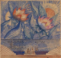 flowers, a set design by kuz'ma sergeevich petrov-vodkin