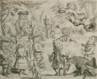 fox tossing: elegant dwarfs playing in a garden of the occasion of a hunting party by adolf van der laan