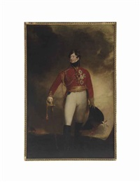portrait of the prince regent, later george iv (1762-1830), full-length, in military uniform, his right hand resting on the hilt of his sword by thomas lawrence