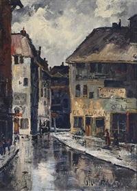 a streetscene with café de zwaan by peter van den braken