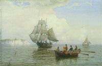fischerboot und segelschiffe vor der nordseeküste by julius huth