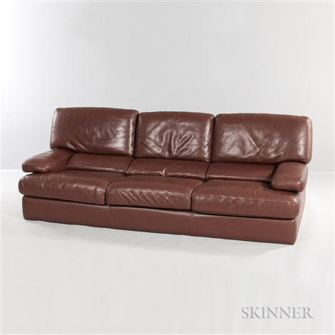 Roche Bobois Brown Leather Sofa By