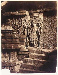 halebid. sculpture and stairs at entrance to the garden, hoysaleswara temple by richard banner oakeley