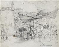 buntes markttreiben an der rialtobrücke in venedig by paul burmeister